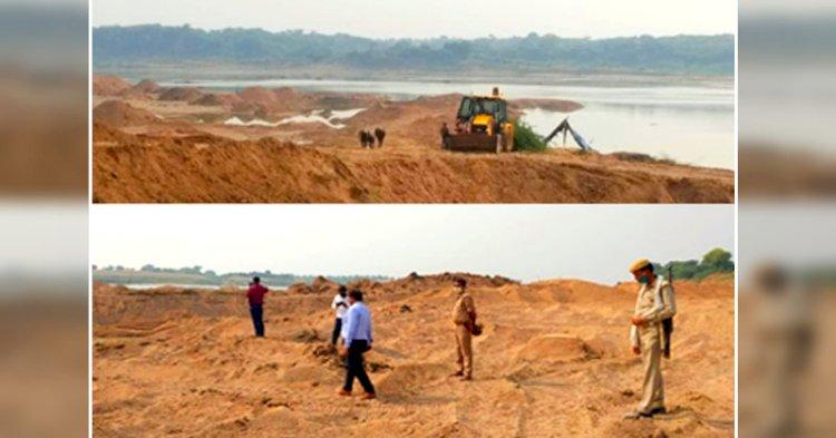 हमीरपुर : अवैध खनन पर आधा दर्जन मौरंग खदानों में छापेमारी