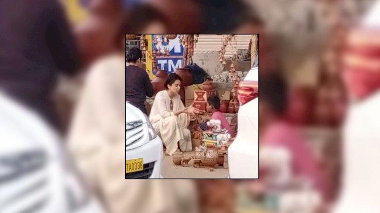 कंगना राणावत ने सड़क किनारे लगी दुकान से खरीदे मिट्टी के कप, लोग हुए हैरान