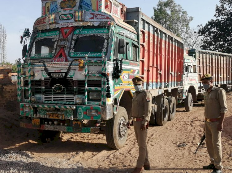gangasters 3 trucks and 1 car seized banda police
